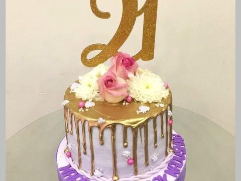 Birthday Gold Dripped cake