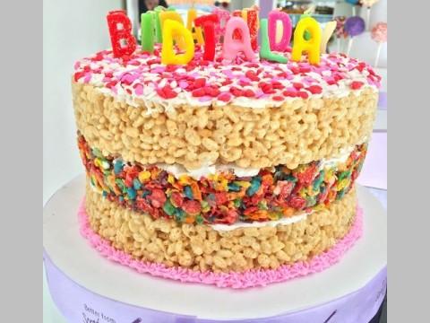 Birthday Rice Krispy cereal Cake