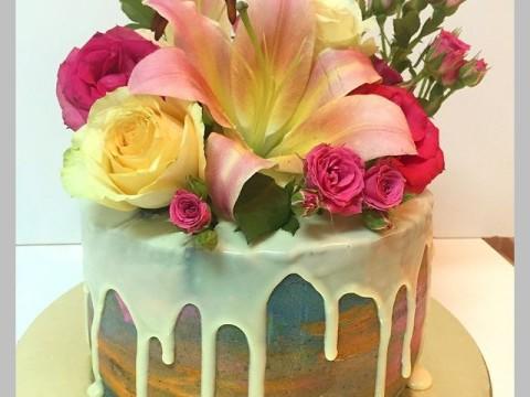 Tie dye floral cake