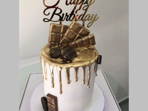 Gold Chocolate Dripped Cake