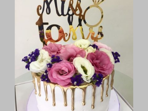 mr. to mrs. floral cake