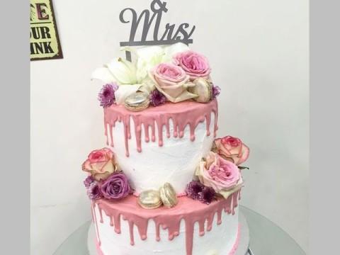 2 Tier pink drip cake