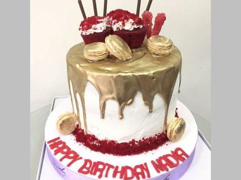 Red Velvet Gold Dripped Cake