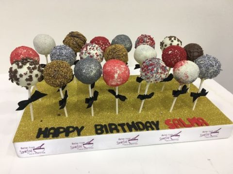 Glittry cake pops stand