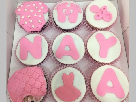 Baby girl themed cupcakes
