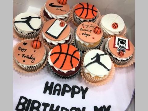 Basket ball design cupcakes