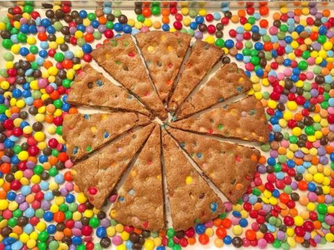 giant cookies filled with m&ms