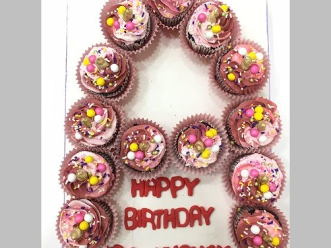 Letter customized cupcakes