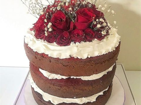 naked red velvet with roses cake