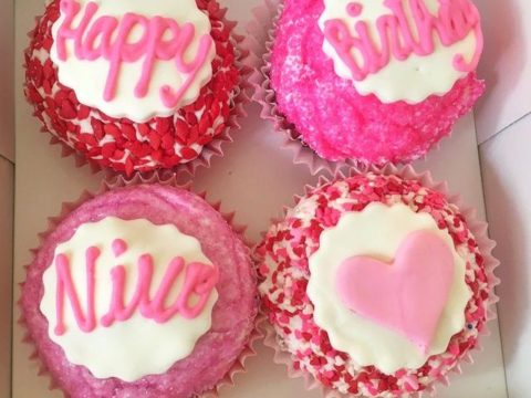 pink birthday cupcakes