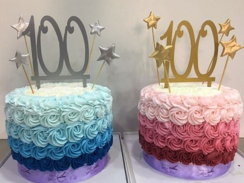 Pink & blue ombre cakes