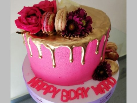 Pink & gold dripped cake