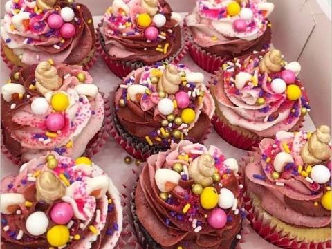 Red unicorn cupcakes