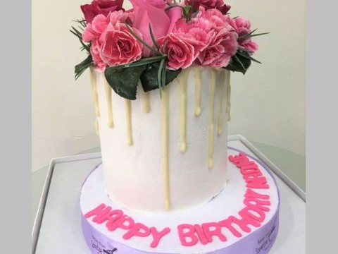 White drip on white cake