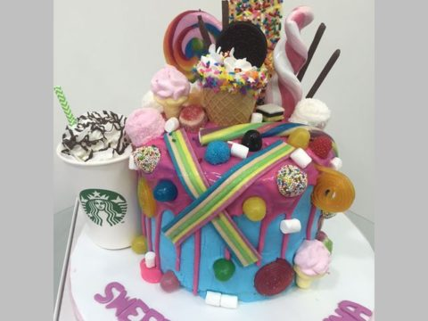 Candy and starbucks cake