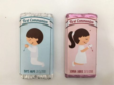 First communion chocolate bar