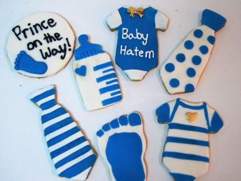new born baby boy theme sugar cookie 4,500 LL each