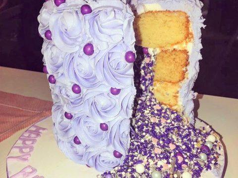 purple pinata cake