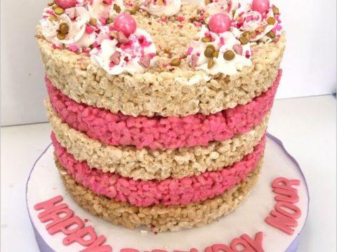 pink rice cake